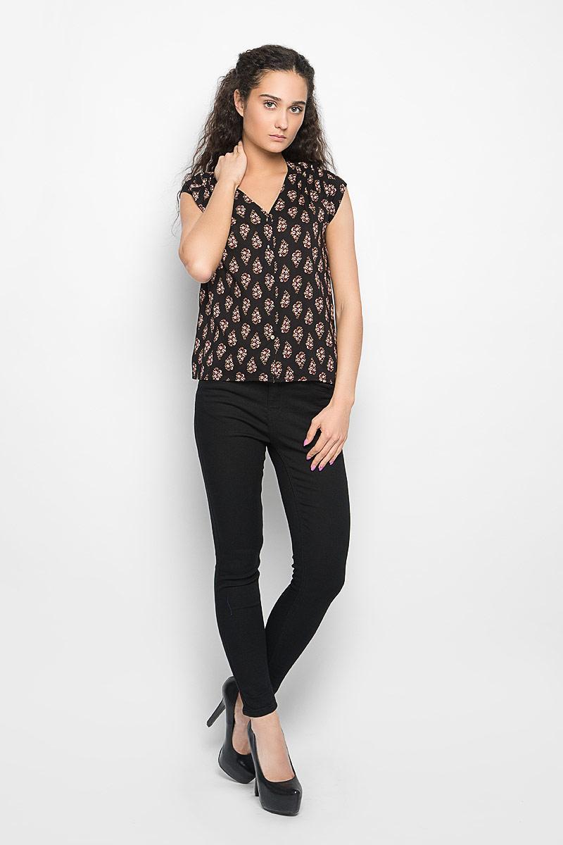 Блузка женская Moodo, цвет: черный. L-KO-2012 FLOWER. Размер M (46)L-KO-2012_FLOWERСтильная женская блуза Moodo, выполненная из высококачественного легкого материала, подчеркнет ваш уникальный стиль.Модная блузка свободного кроя с короткими рукавами и v-образным вырезом горловины поможет вам создать неповторимый образ. Изделие оформлено цветочным принтом, застегивается спереди на пуговицы. Спинка модели немного удлинена. Такая блузка будет дарить вам комфорт в течение всего дня и послужит замечательным дополнением к вашему гардеробу.