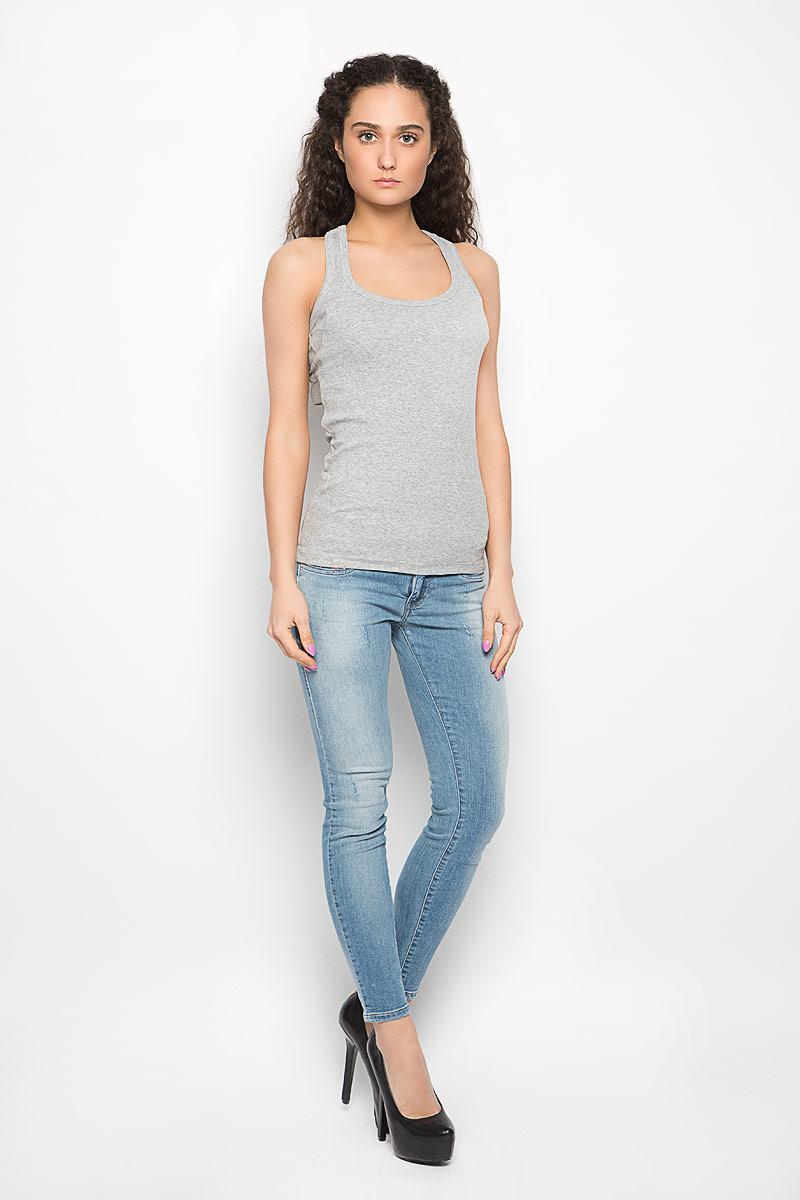 Майка женская Moodo Basic, цвет: серый. L-TS-2031. Размер S (44) футболка женская moodo цвет белый сиреневый серый l ts 2045 white размер m 46