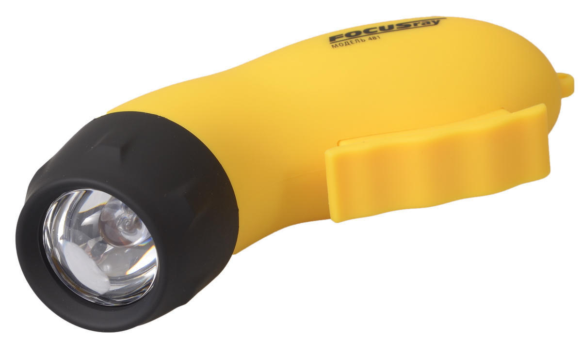 Фонарь ручной FOCUSray. FR-481Фонарь Focusray FR-481Ручной фонарь FOCUSray представляет собой автономный источник света. Электродинамический фонарь предназначен для освещения предметов и местности при отсутствии стационарных источников света. В фонаре установлена мощная и яркая светодиодная лампа нового поколения, ресурс ее свечения составляет минимум 50000 часов. Для увеличения дальности светового пучка и его лучшей фокусировки электродинамический фонарь снабжен линзой. Для зарядки фонарика необходимо нажимать ручку на корпусе в течение нескольких минут, что похоже на занятие эспандером, после чего фонарик будет светить. Для удобства переноски фонарь снабжен капроновым ремешком на металлическом карабине. Эргономичный корпус выполнен из пластика. Для удобства использования на корпус также нанесено приятное на ощупь матовое резиновое напыление, чтобы фонарик не выскальзывал из рук, даже когда руки мокрые. Электродинамический фонарь незаменим на рыбалке, охоте, туристическом походе, так как для его работы не требуются батарейки. Дальность свечения: 20 м.