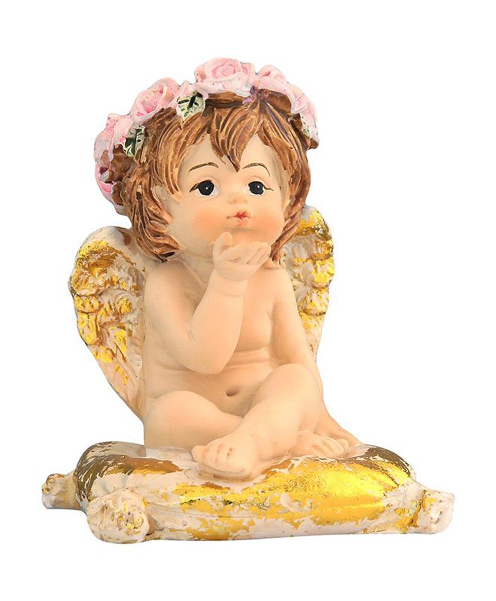 Фигурка декоративная Elan Gallery Ангелочек на золотой подушечке, высота 6,5 см670120Декоративные фигурки - это отличный способ разнообразить внутреннее убранство вашего дома. Декоративная фигурка с изображением ангелочка станет прекрасным сувениром, который вызовет улыбку и поднимет настроение.Фигурка выполнена из полистоуна.