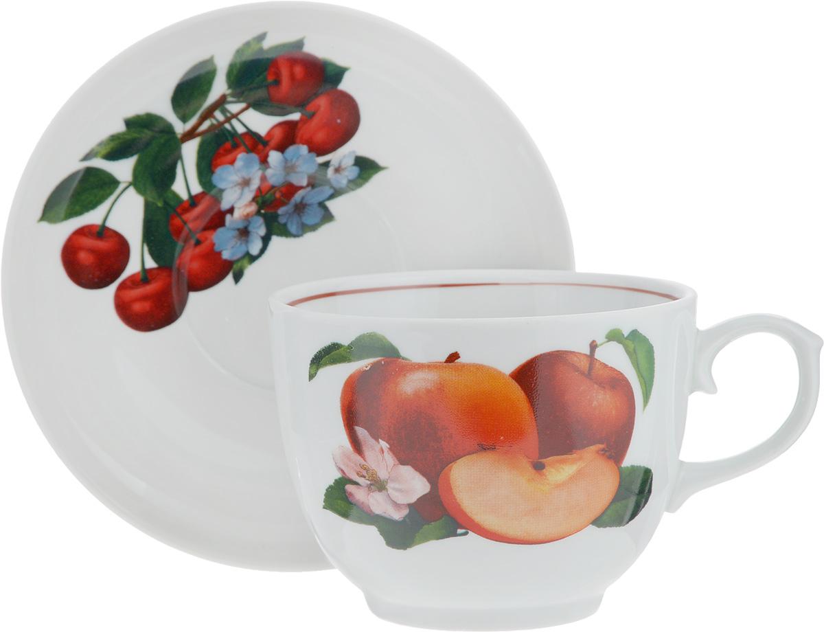 """Чайная пара """"Ассорти сборная"""" состоит из чашки и блюдца, изготовленных из высококачественного фарфора. Оригинальный дизайн изделий, несомненно, придется вам по вкусу.Чайная пара """"Ассорти сборная"""" украсит ваш кухонный стол, а также станет замечательным подарком к любому празднику.Диаметр чашки (по верхнему краю): 11,6 см.Высота чашки: 8,7 см.Диаметр блюдца (по верхнему краю): 16,3 см.Высота блюдца: 1,8 см."""