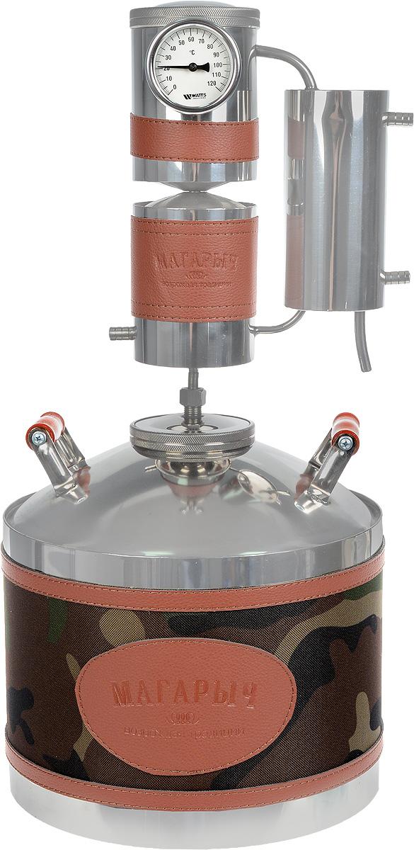Магарыч Машковского БКДР 12, Brown Leather дистилляторМАГАРЫЧ БКДР 12 ЭкокожаБытовой дистиллятор Магарыч Машковского БКДР 12 - это совершенство в каждом штрихе.Используемая при изготовлении самогонного аппарата сталь гигиенична, гипоалергенна и невзаимодействует сжидкостью внутри куба в отличие от многих представленных на рынке аппаратов. Применениестальногонержавеющего листа толщиной 1 мм обеспечивает приблизительный срок службы аппарата 5лет.Дефлегматор Магарыча Машковского состоит из водяной рубашки. Благодаря использованиюрубашки вместообычного змеевика удалось увеличить площадь охлаждения и конденсации пара до 374 см2.Это позволилоувеличить производительность аппарата до 2 литров в час.В отличие от старых моделей, где диаметр трубок, по которым идет пар, составлял 8 мм, вновом аппарате диаметрцарги составляет 38 мм. Это исключает возможную закупорку отверстий частицами браги(жмыхом, ягодами) во время кипения.Чтобы еще больше увеличить производительность и на выходе получать холодный самогон,уже в базовойкомплектации устанавливается доохладитель. Он представляет собой водяную рубашку.Внутри нее расположензмеевик, по которому протекает самогон.Благодаря особому типу стали, используемой в перегонном кубе, самогонный аппарат МагарычМашковскогоБКДР 12 можно использовать на газовых, электрических и стеклокерамических плитах.