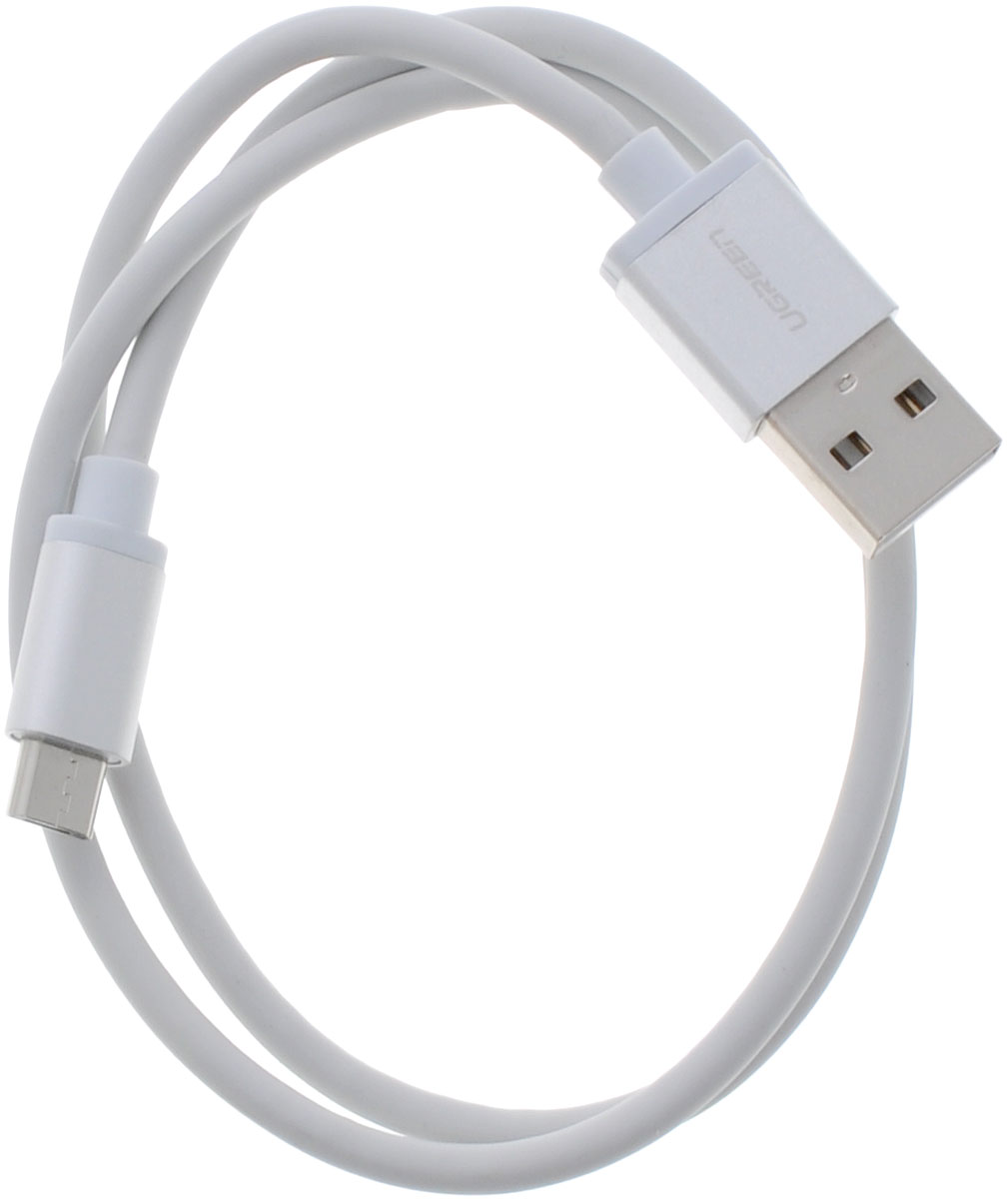 Ugreen UG-10828, White Silver кабель microUSB-USB 0.5 м ugreen ug 20727 white кабель usb 2 0 apple lightning 0 5 м
