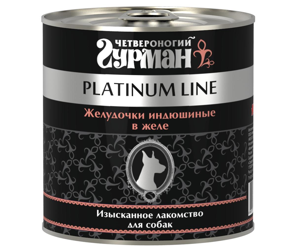 Консервы для собак Четвероногий Гурман, с индюшиными желудочками в желе, 240 г гурман platinum консервированный корм для собак желудочки индюшиные в желе бн 240г
