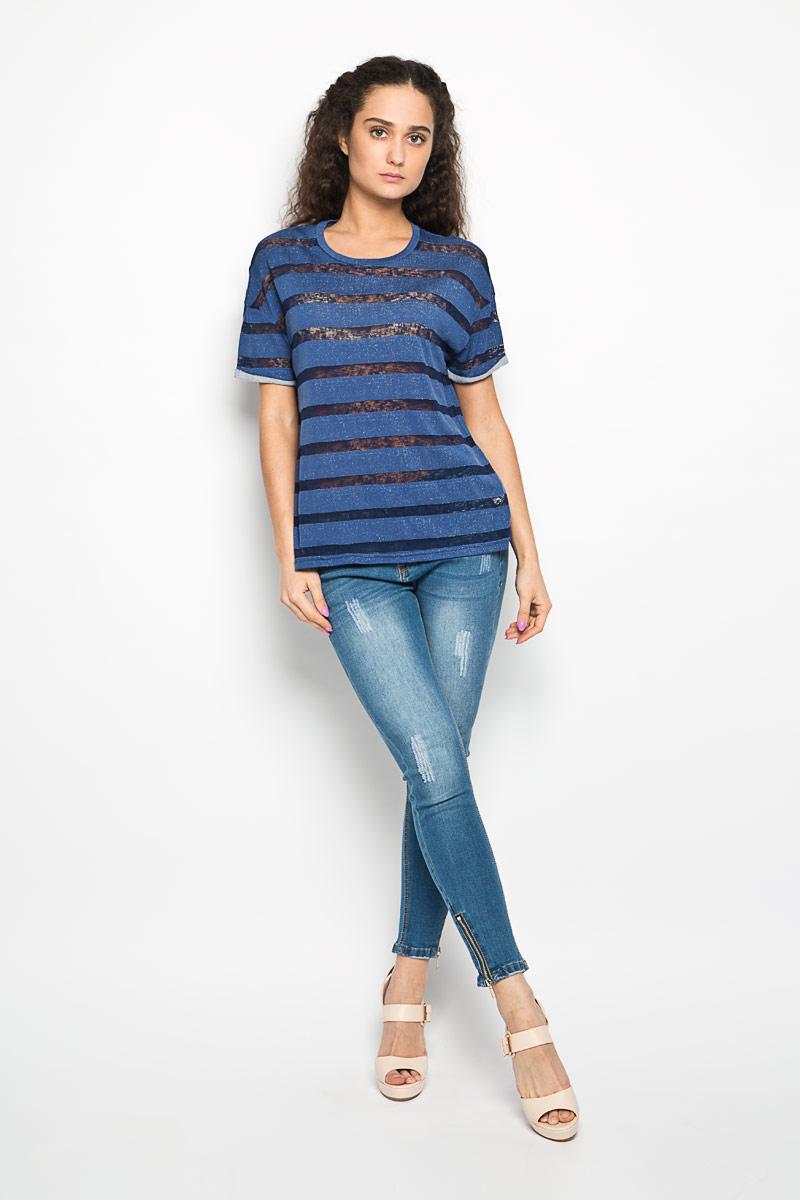 Футболка женская Moodo, цвет: синий, темно-синий. L-TS-2000 NAVY. Размер L (48) футболка женская moodo цвет белый сиреневый серый l ts 2045 white размер m 46