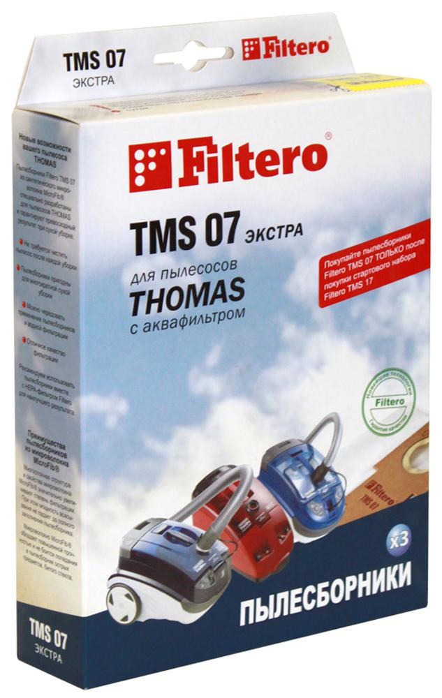 Filtero TMS 07 Экстра мешок-пылесборник для Thomas, 3 штTMS 07 Экстра,Пылесборники Filtero TMS 07 Экстра произведены из синтетического микроволокна MicroFib. Очень прочные,они не боятся острых предметов, собирают больше пыли (до 50%) и обеспечивают уровень очистки воздуха99,9%, что значительно выше, чем у бумажных пылесборников. При этом мощность всасывания пылесосасохраняется в течение всего периода службы пылесборника.Сменные мешки-пылесборники Filtero TMS 07 можно использовать только совместно с держателем Filtero изстартового набора.Пылесборники Filtero TMS 07 Экстра подходят для следующих моделей пылесосов:Thomas: Black Ocean Hygiene Plus T2 Hygiene T2 Pet & Friend Twin Helper Twin T1 Aquafilter Twin T2 Aquafilter Twin TT Aquafilter Twin TT Parq Twin T2 Parquet Twin Panther Twin Aquafilter Twin Aquatherm Twin Electronic Twin Tiger Genius S1 Aquafilter Genius S2 Aquafilter Genius Aquafilter Rotho Smarty Syntho Victor
