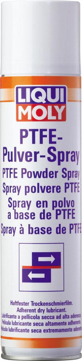 Спрей тефлоновый Liqui Moly PTFE-Pulver-Spray, 0,4 л3076Смазка Liqui Moly PTFE-Pulver-Spray, образующая сухой прозрачный слой на трущихся поверхностях на основе ПТФЭ (политетрафторэтилена). Предназначена для смазывания контактных зон, где необходима нелипкая смазка и невозможно использование масляных или силиконовых смазок. Отлично подходит для смазывания уплотнителей стекол автомобилей. Отлично подходит для дверных замков, где белая смазка не подходит по цвету кузова. Смазка также предназначена для использования в качестве разделяющего слоя на пресс-формах при производстве пластиков/каучуков.Особенности: Не содержит масел, жиров и силикона - нейтральна к чувствительным пластикам и резине.Обладает высокой химической устойчивостью.Высокая адгезия слоя смазки.Прочен при высокой температуре.Устраняет впитывание.Подходит для ухода, зашиты и изоляции.Основа: ПТФЭ.Товар сертифицирован.