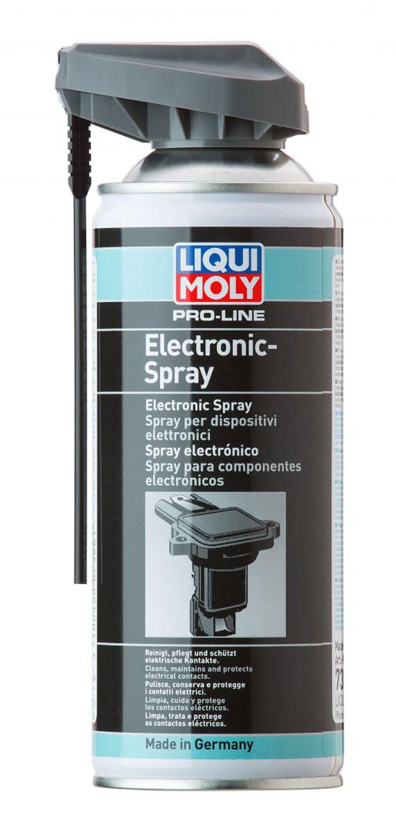 Спрей для электропроводки Liqui Moly Pro-Line Electronic-Spray, 0,4 л7386Спрей Liqui Moly Pro-Line Electronic-Spray применяется для обслуживания и ухода (чистки и защиты) всех электрических конструктивных элементов транспортных средств, таких как: штекерные и клеммные соединения, цоколи ламп, кабельные переключатели, прерыватели, стартеры, осветительные приборы, генераторы, полюса батарей, антенны, тонкие механические устройства.Особенности:Очищает загрязненные контакты.Точно наносится при использовании распыляющей трубочки.Быстро высыхаетЗащищает от коррозии.Вытесняет воду, защищает от влажности.Удаляет окислы и сульфиды.Уменьшает переходное сопротивление.Совместим с пластиками и резиной.Распыляется при любом положении баллона.Не содержит силикона.База: синтетическое масло/присадки.Товар сертифицирован.