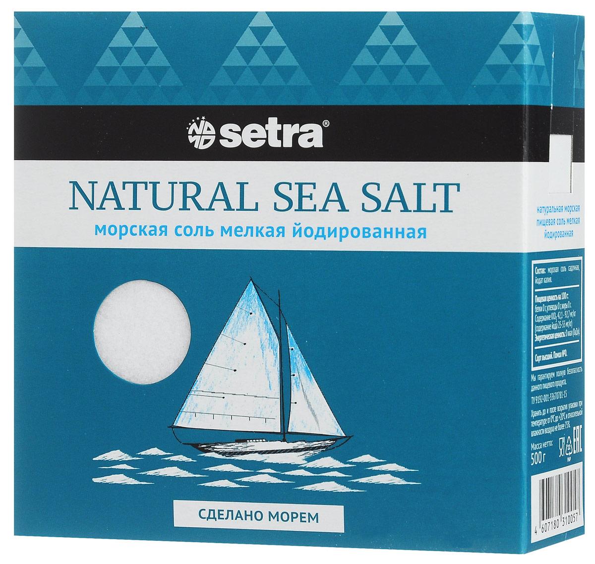 Setra соль морская мелкая йодированная, 500 гбте002Морскую соль Setra получают из вод Адриатического моря уже более 700 лет старым, естественным, экологически чистым способом: выпариванием морской воды на солнце. В отличие от каменной соли морская соль содержит больше ионов магния, калия, йода, кальция, фтора, а также других морских минералов, что, помимо ощутимой пользы для организма, придаст вашим блюдам особый изысканный вкус.