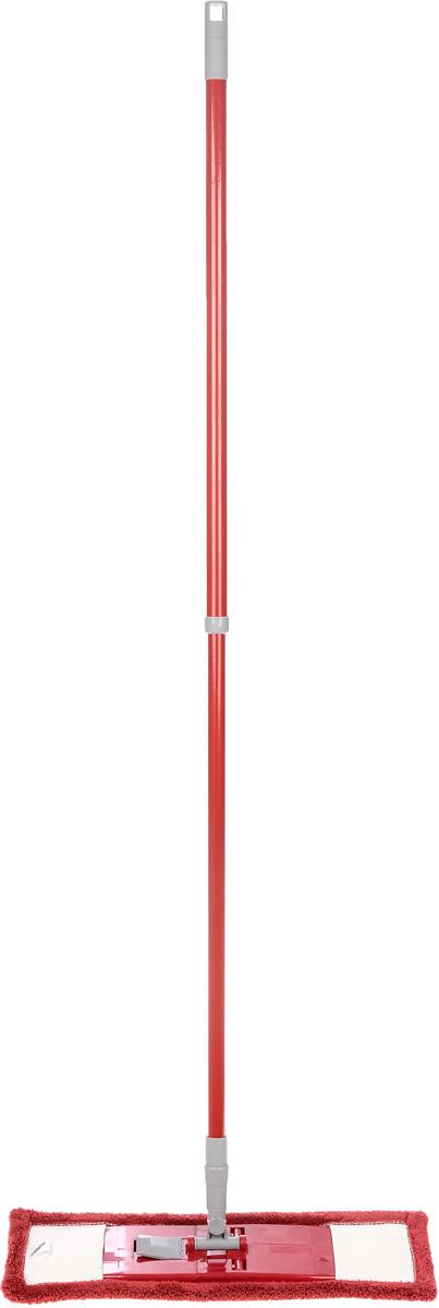 Швабра Флэт, с телескопической ручкой и сменной насадкой, цвет: вишневый. 14022111.4.02.2116Легкая и удобная протирочная швабра Флэт предназначенадля мытья полов, стен, потолков и других больших поверхностей. Она выполнена из высококачественного металла и пластика, а также оснащена коротковорсной насадкой их микрофибры. Подвижное крепление телескопической рукоятки к насадке позволяет мыть полы в труднодоступных местах. Насадка легко удаляет пыль, не оставляя разводов и ворсинок. Благодаря такой швабре, уборка станет легким и приятным делом, а время работы сократится в несколько раз. Длина ручки: 52-128 см. Размер насадки: 44 х 14 х 2 см.