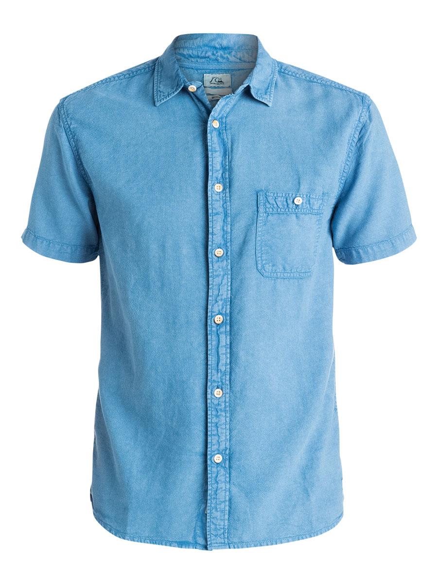 Рубашка мужская Quiksilver, цвет: синий. EQYWT03298-BNC0. Размер L (50/52)EQYWT03298-BNC0Отличная мужская рубашка Quiksilver выполнена из натурального хлопка. Модель с отложным воротником и короткими рукавами застегивается на пуговицы спереди. На груди рубашка дополнена одним накладным карманом на пуговице.