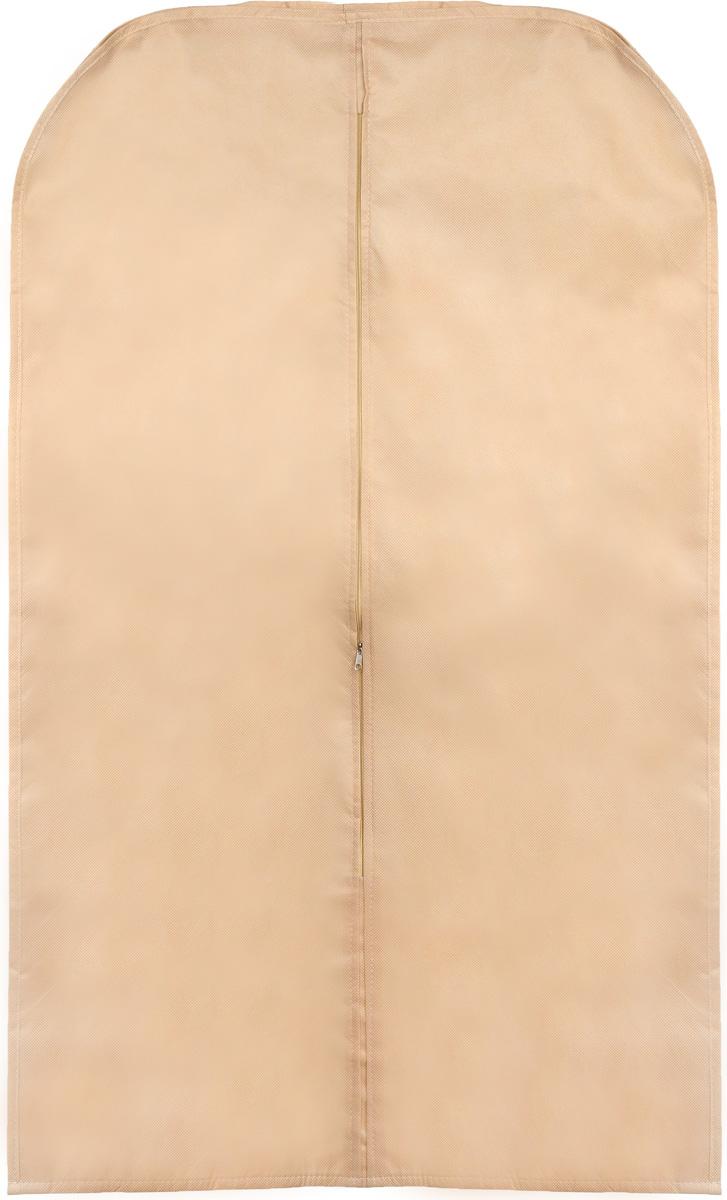Чехол для одежды Eva, объемный, цвет: бежевый, 65 х 110 х 10 смЕ34_бежевыйОбъемный чехол для одежды Eva изготовлен из высококачественного полипропилена и нетканого материала. Особое строение полотна создает естественную вентиляцию, позволяя воздуху проникать внутрь, но не пропускает пыль. Чехол очень удобен в использовании. Благодаря наличию боковой вставки увеличивает объем чехла, что позволяет хранить крупные объемные вещи. Это особенно необходимо для меховой, кожаной и шерстяной одежды. Чехол легко открывается и закрывается застежкой-молнией. Чехол для одежды Eva создаст уютную атмосферу в женском гардеробе. Лаконичный дизайн придется по вкусу ценительницам эстетичного хранения и сделают вашу гардеробную изысканной и невероятно стильной.