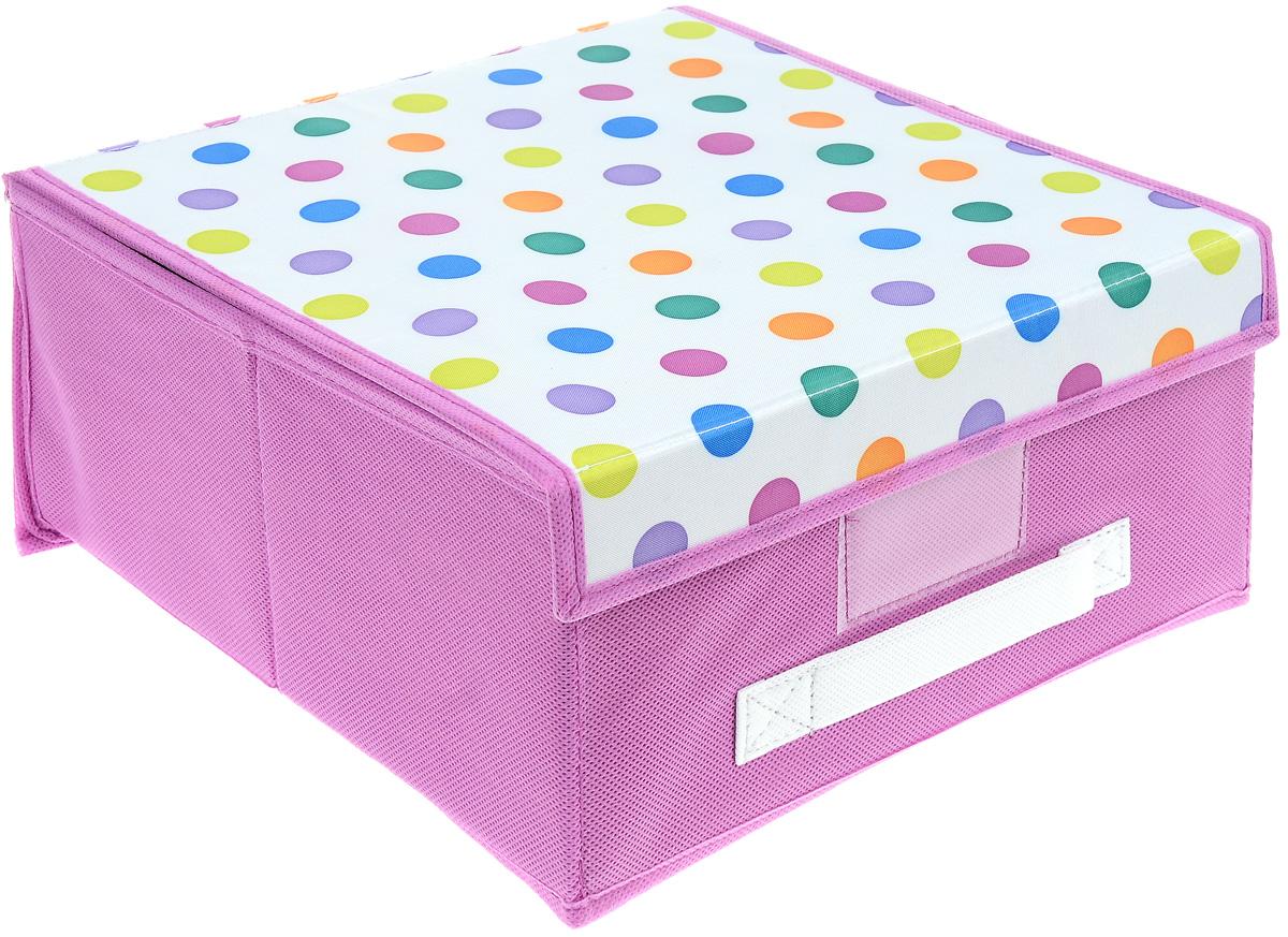 Чехол-коробка Cosatto Viola! Кидс, цвет: розовый, белый, 30 х 30 х 16 смCOVLSCBY11K_розовыйЧехол-коробка Cosatto Viola! Кидс поможет легко и красиво организовать пространство в детской комнате. Изделие выполнено из полиэстера и нетканого материала, прочность каркаса обеспечивается наличием внутри плотных и толстых листов картона. Чехол-коробка закрывается крышкой на две липучки, что поможет защитить вещи от пыли и грязи. Сбоку имеется ручка. Такой чехол идеально подойдет для хранения игрушек и детских вещей. Яркий дизайн изделия привлечет внимание ребенка и вызовет у него желание самостоятельно убирать игрушки. Складная конструкция обеспечивает компактное хранение.