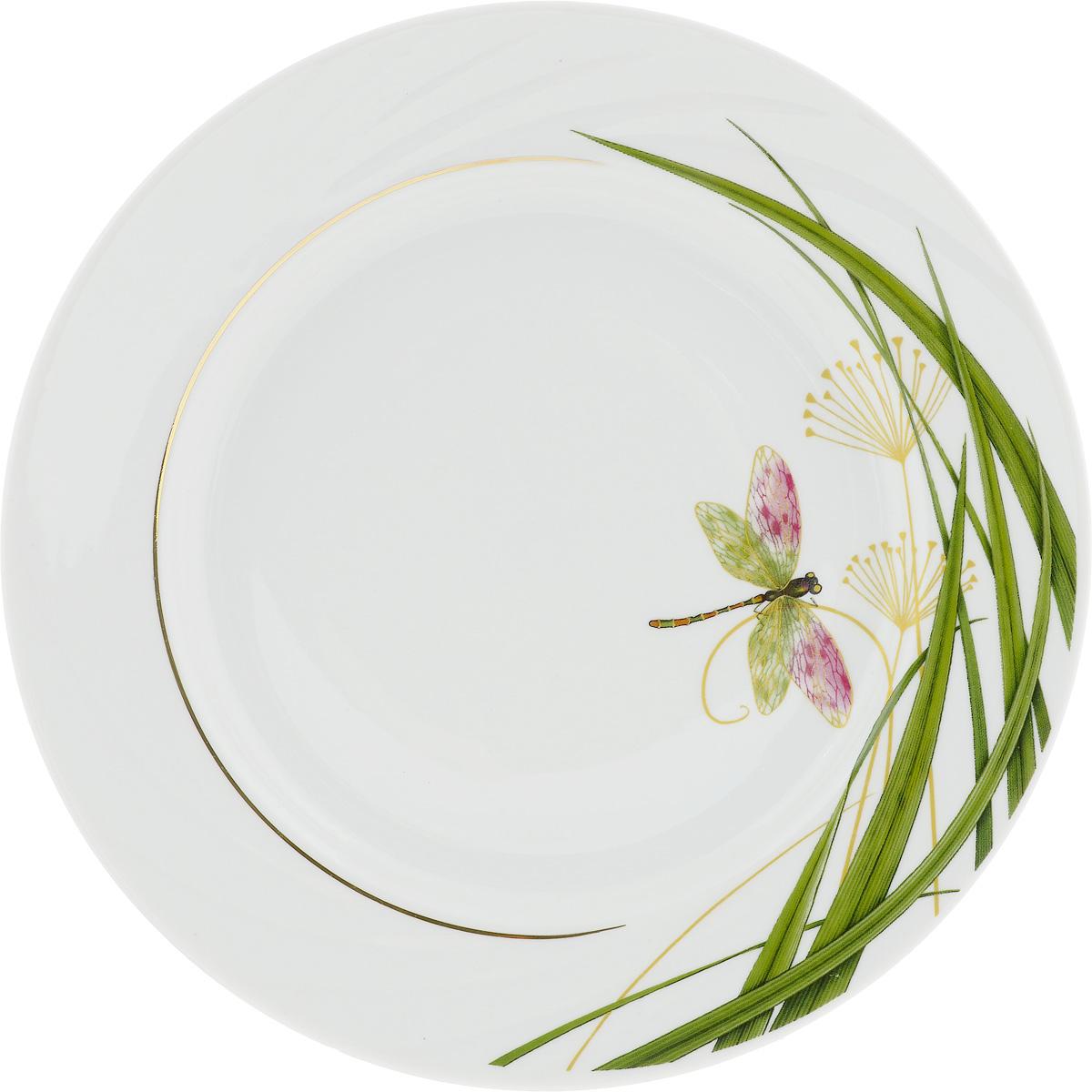 Тарелка Голубка. Стрекоза, диаметр 24,5 см1224532Тарелка Голубка. Стрекоза изготовлена из высококачественного фарфора. Изделие декорировано красочным изображением. Такая тарелка отлично подойдет в качестве блюда, она идеальна для сервировки закусок, нарезок, горячих блюд. Тарелка прекрасно дополнит сервировку стола и порадует вас оригинальным дизайном. Диаметр тарелки: 24,5 см.