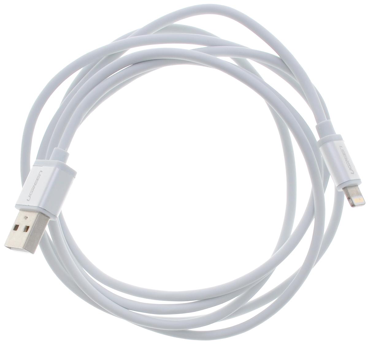 Ugreen UG-10813, White Silver кабель-переходник USB 1.5 мUG-10813Кабель Ugreen UG-10813 подходит для зарядки и синхронизации iPhone/iPod/iPad с интерфейсом Lightning и полностью соответствует стандартам качества Apple.