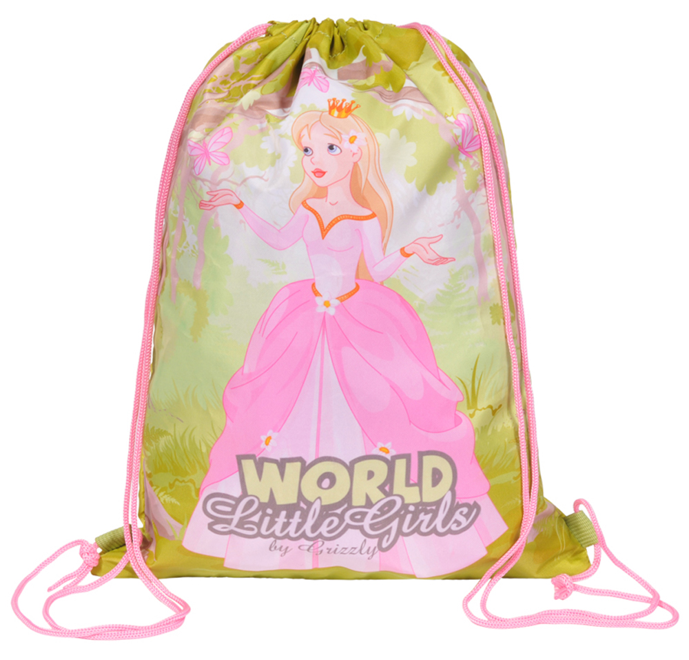 Grizzly Мешок для обуви World Little Girls цвет розовый зеленыйOM-668-3/1Мешок для обуви Grizzly World Little Girls изготовлен из прочной ткани с водоотталкивающей пропиткой.Мешок имеет одно отделение, закрывающееся стягивающимся шнуром. Плотная ткань надежно защитит обувь и сменную одежду школьника от непогоды, а удобные петли шнура позволят носить мешок, как в руках, так и за спиной.