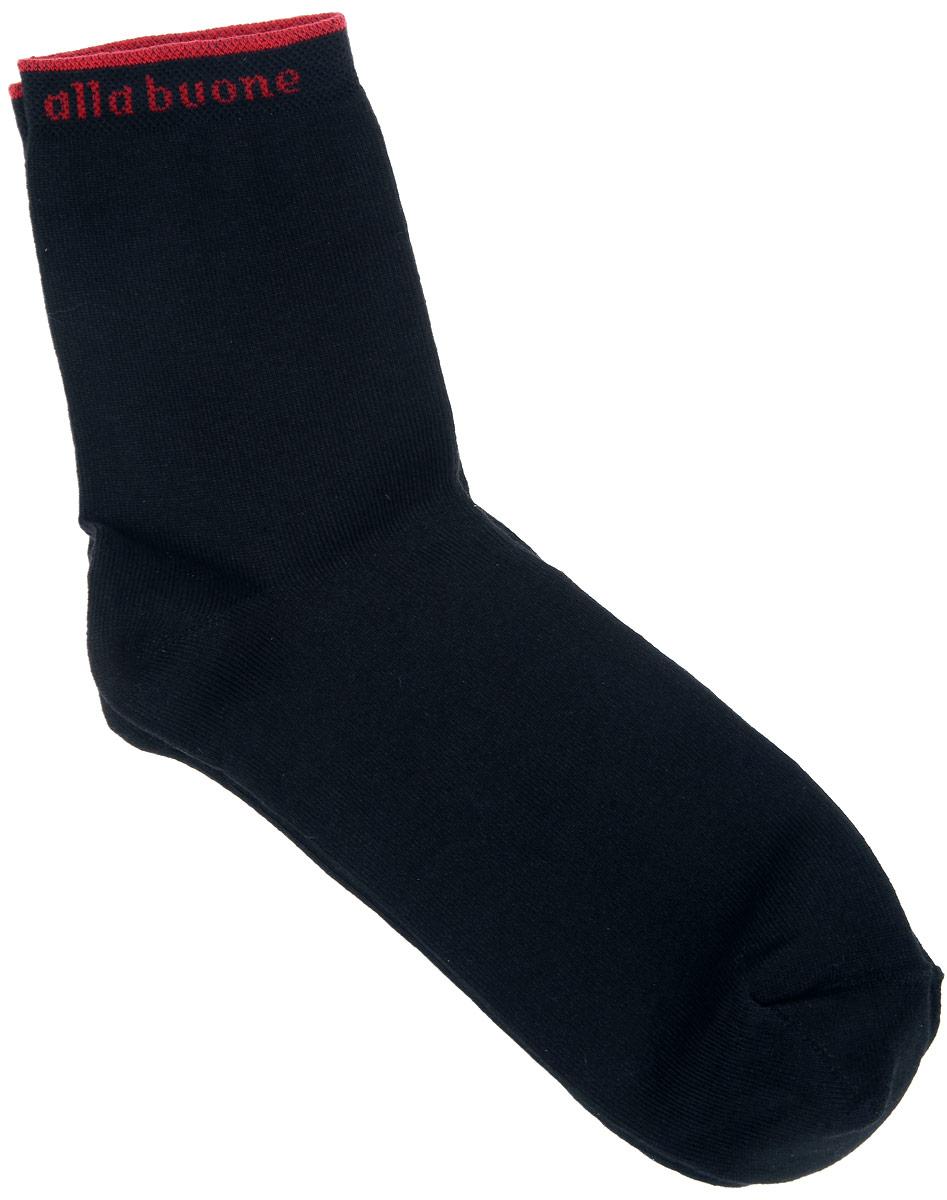 Носки женские Alla Buone, цвет: черный. CD010. Размер 23 (35-37)010CDУдобные носки Alla Buone, изготовленные из высококачественного комбинированного материала, очень мягкие и приятные на ощупь, позволяют коже дышать. Эластичная резинка плотно облегает ногу, не сдавливая ее, обеспечивая комфорт и удобство. Носки с паголенком классической длины. Резинка оформлена контрастной надписью с логотипом фирмы. Практичные и комфортные носки великолепно подойдут к любой вашей обуви.