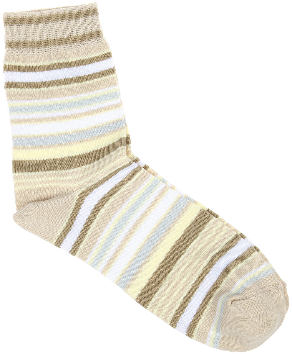 Носки женские Alla Buone, цвет: кремовый. CD006. Размер 23 (35-37)006CDУдобные носки Alla Buone, изготовленные из высококачественного комбинированного материала, очень мягкие и приятные на ощупь, позволяют коже дышать. Эластичная резинка плотно облегает ногу, не сдавливая ее, обеспечивая комфорт и удобство. Носки с паголенком классической длины оформлены рисунком в полоску. Практичные и комфортные носки великолепно подойдут к любой вашей обуви.