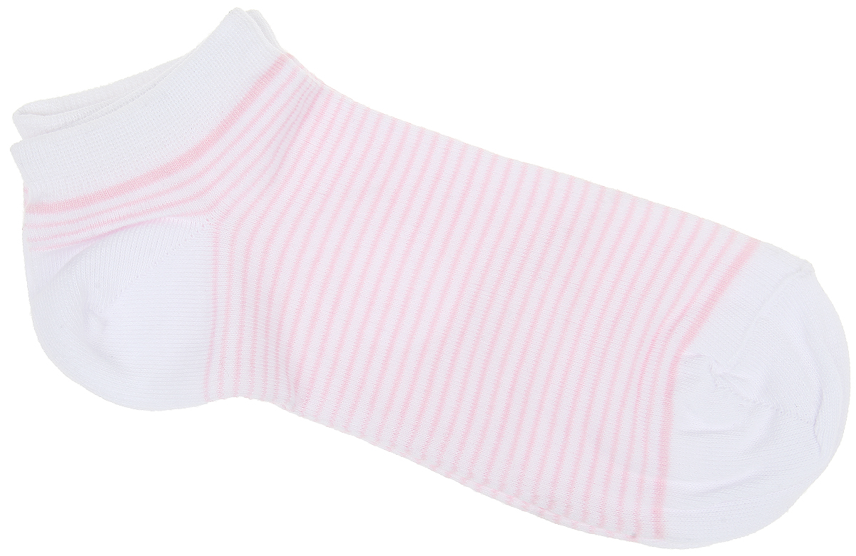 Носки женские Alla Buone, цвет: розовый. CD014. Размер 25 (38-40)CD014Удобные носки Alla Buone, изготовленные из высококачественного комбинированного материала, очень мягкие и приятные на ощупь, позволяют коже дышать. Эластичная резинка плотно облегает ногу, не сдавливая ее, обеспечивая комфорт и удобство. Модель с укороченным паголенком, оформлена принтом в полоску. Практичные и комфортные носки великолепно подойдут к любой вашей обуви.
