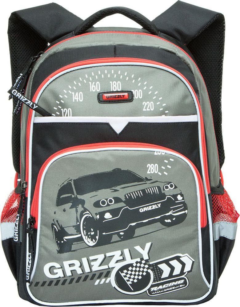Grizzly Рюкзак детский Racing цвет черный серыйRB-632-3/3Детский рюкзак Grizzly Racing сочетает в себе современный дизайн, функциональность и долговечность.Рюкзак выполнен из плотного материала и оформлен оригинальным изображением.Рюкзак имеет два основных отделения на застежках-молниях. Большое отделение имеет пришивной карман на молнии. Дно рюкзака можно сделать жестким, разложив специальную панель с пластиковой вставкой, что повышает сохранность содержимого рюкзака и способствует правильному распределению нагрузки. Второе отделение не содержит карманов.На лицевой стороне рюкзака располагаются два внешних кармана на застежках-молниях. Один карман содержит сетчатый кармашек на молнии и три небольших открытых кармашка.По бокам рюкзака расположены два открытых кармана на резинке. Рюкзак оснащен петлей для подвешивания и удобной текстильной ручкой для переноски в руке.Широкие регулируемые лямки и сетчатые мягкие вставки на спинке рюкзака предохранят мышцы спины ребенка от перенапряжения при длительном ношении. Светоотражающие вставки по всему периметру рюкзака существенно повышают безопасность ребенка на дороге.Этот рюкзак можно использовать для повседневных прогулок, учебы, отдыха и спорта, а также как элемент вашего имиджа.
