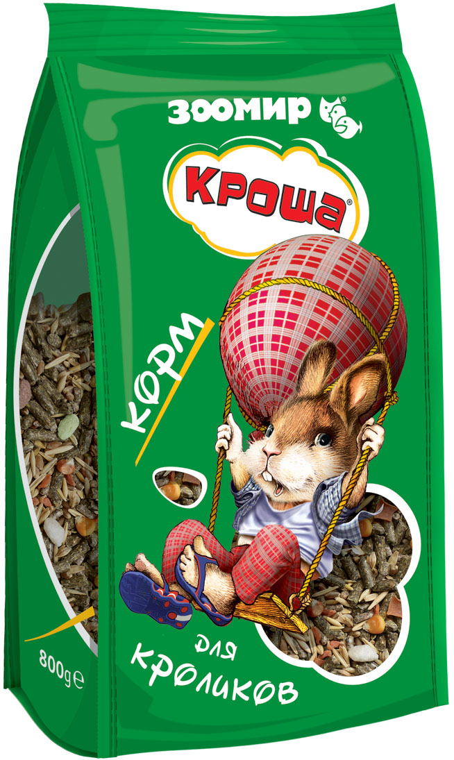 Корм для кроликов Зоомир Кроша, 800 г книги эксмо натуральная аптечка ягоды овощи фрукты пряные травы
