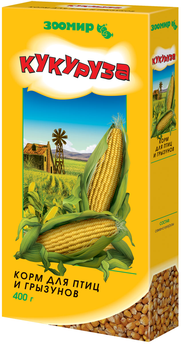 Корм для птиц и грызунов Зоомир Кукуруза, 400 г корм для птиц vitakraft menu vital для волнистых попугаев основной 1кг