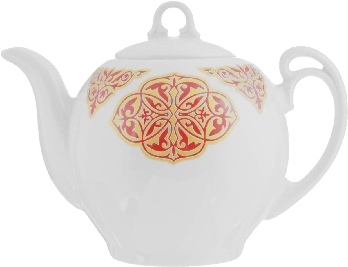 """Заварочный чайник """"Гармония. Восточный"""" выполнен из  высококачественного фарфора и покрыт  сверкающей глазурью. Изделие оснащено  крышкой.  Заварочный чайник """"Гармония. Восточный"""" придется по  вкусу и  ценителям классики, и тем, кто предпочитает  утонченность и  изысканность.   Диаметр (по верхнему краю): 7,5 см.  Высота чайника (без учета крышки): 12 см."""