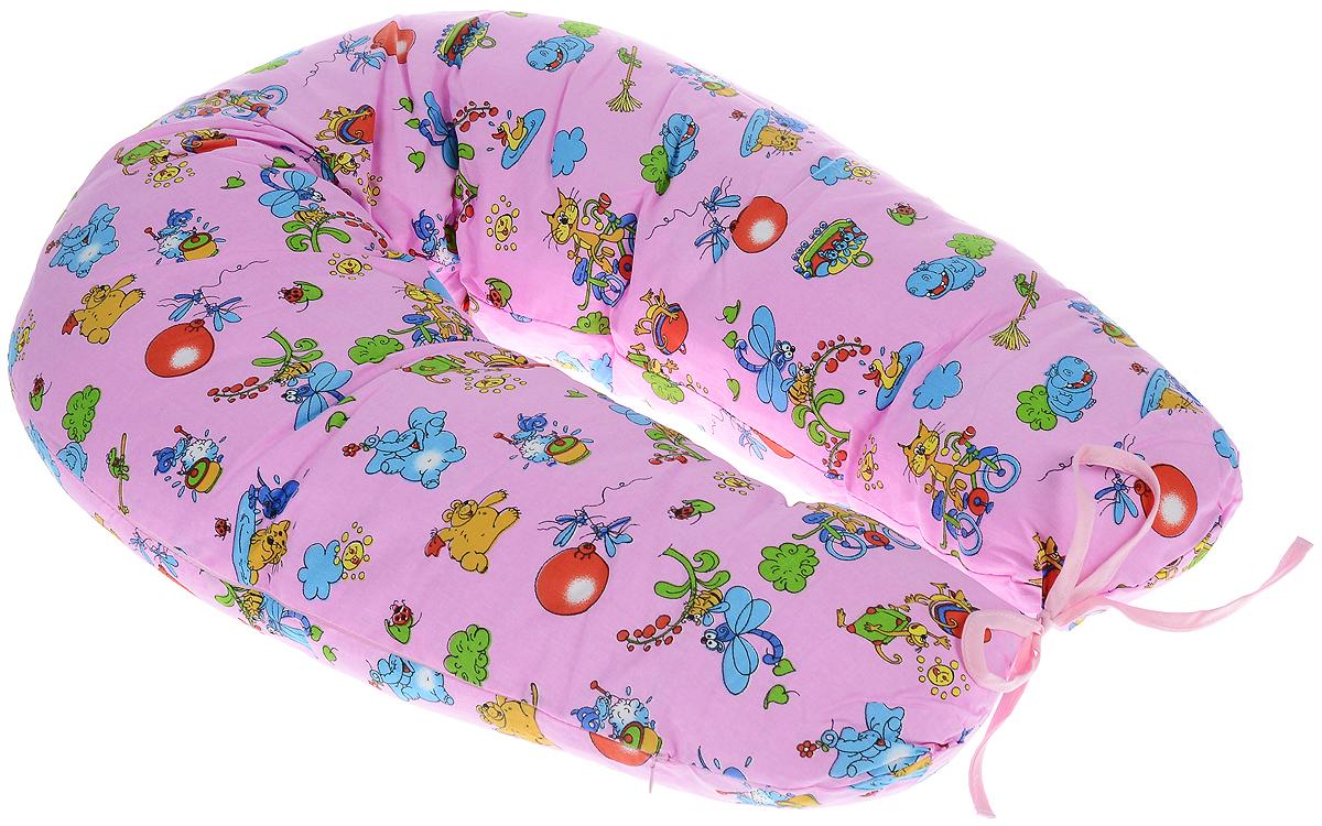 Фэст Подушка для беременных и кормящих мам Зоопарк цвет розовый -  Детский текстиль