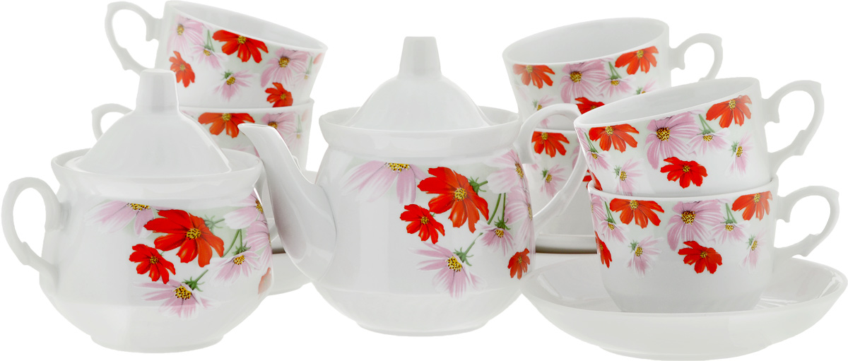 Сервиз чайный Кирмаш. Космея, 14 предметов4С0372Чайный сервиз Кирмаш. Космея состоит из 6 чашек, 6 блюдец, сахарницы и заварочного чайника. Изделия выполнены из высококачественного фарфора и оформлены ярким цветочным рисунком. Изящный чайный сервиз прекрасно оформит стол к чаепитию и порадует вас элегантным дизайном и качеством исполнения.Объем чайника: 1 л.Высота чайника (без учета крышки): 10,5 см.Диаметр чайника (по верхнему краю): 9,5 см.Высота сахарницы (без учета крышки): 9 см.Диаметр сахарницы (по верхнему краю): 10 см.Объем сахарницы: 400 мл.Объем чашки: 220 мл.Диаметр чашки (по верхнему краю): 8,5 см.Высота чашки: 7 см.Диаметр блюдца: 14 см.Высота блюдца: 3 см.