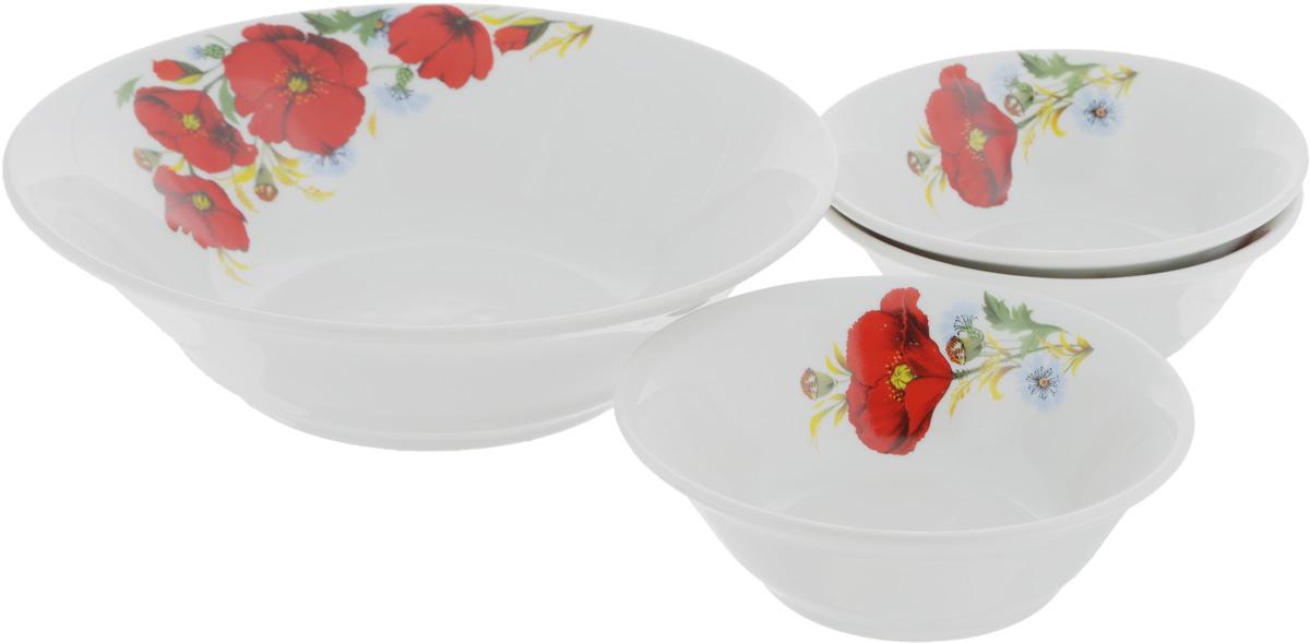 Набор салатников Идиллия. Маки красные, 4 шт1035464Набор Идиллия. Маки красные состоит из 4 салатников. Изделия, изготовленные из высококачественного фарфора, сочетают в себе изысканный дизайн с максимальной функциональностью. Они идеально подходят для сервировки стола и подачи закусок, солений и других блюд. Такие салатники прекрасно впишутся в интерьер вашей кухни и станут достойным дополнением к кухонному инвентарю.Объем салатников: 360 мл; 1,2 л.Диаметр салатников: 14 см; 22 см.Высота салатников: 5 см; 7 см.