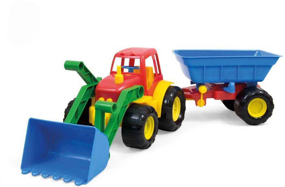купить Zebratoys Трактор с ковшом и прицепом цвет красный синий по цене 599 рублей