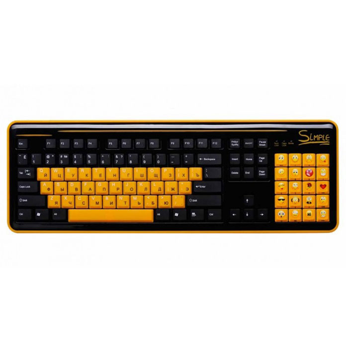 CBR Simple S8, Black клавиатураS8 BlackКлавиатура CBR Simple S8 станет отличным решением для активных пользователей интернет-мессенджеров и социальных сетей. S8 облегчает общение благодаря тому, что вместо цифрового поля справа, на ней располагается блок специальных клавиш. Каждая клавиша блока представляет собой тот или иной смайлик, что освобождает от набора на основной клавиатуре сложных комбинаций или выбора нужного эмотикона из списка используемой программы. Пользователь такого гаджета сможет одним нажатием кнопки выразить необходимую эмоцию.С помощью этой клавиатуры у пользователя будет в распоряжении 20 различных смайлов. Новое устройство ввода совместимо с различными операционными системами, и может поддерживать многие приложения, такие как qip, skype, icq, одноклассники и большое количество других. При необходимости смайлы легко отключаются одним нажатием кнопки, и блок смайлов работает стандартном варианте Num Lock. Цифры при этом нанесены на боковую грань клавиш. Клавиатура дополнена функцией быстрого вызова калькулятора.
