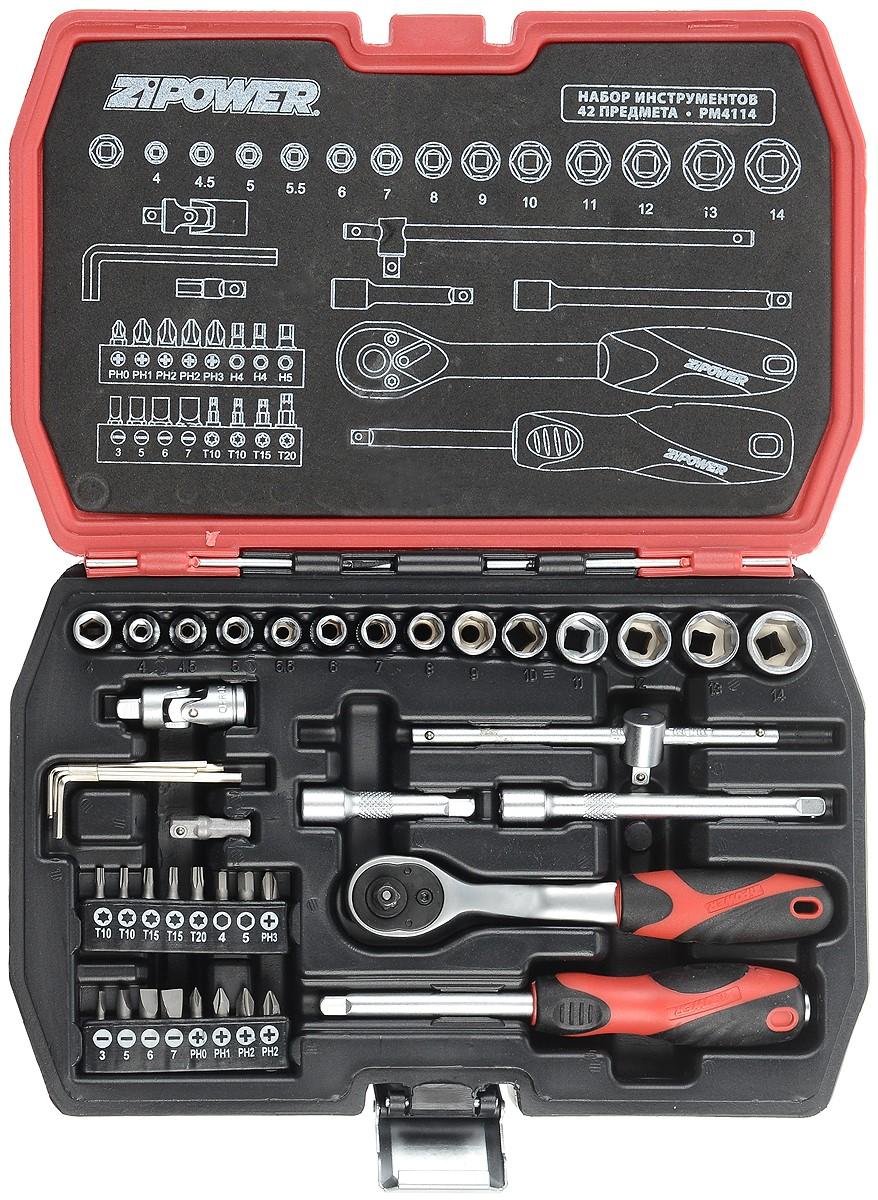 Набор инструментов Zipower, 42 предметаPM 4114Тщательно подобранный ассортимент инструмента Zipower удовлетворит запросы и начинающего автовладельца, и профессиональногомеханика. Применение специальной технологии закалки и термической обработки хромованадиевой стали гарантирует высокую прочностьинструмента, его износоустойчивость при интенсивном использовании. Двухкомпонентные рукоятки обеспечивают комфорт во время выполненияработ. В комплекте пластиковый кейс для переноски и хранения. Состав набора:Головка торцевая шестигранная 1/4: 4, 4,5, 5, 5,5, 6, 7, 8, 9, 10, 11, 12, 13, 14 мм. Трещотка 1/4. Рукоятка скользящая Т-образная 1/4: 11,5 см. Удлинитель 1/4: 5 см, 10 см. Шарнир карданный 1/4. Рукоятка отверточная 1/4: 15 см. Адаптер 25 мм. Переходник. Набор бит: PH0, PH1, 2 x PH2, PH3, H4, H5, 2 x T10, 2 x T15, T20, SL3, SL5, SL6, SL7. Ключ угловой шестигранный: 1,27, 1,5, 2, 2,5, 3 мм.
