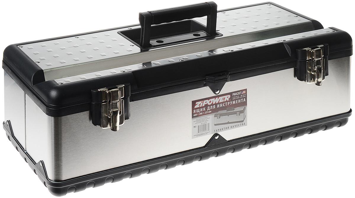 Ящик для инструментов Zipower, 66 х 28 х 22,5 смPM 4287Легкий и вместительный ящик для инструментов Zipower с удобными и надежными металлическими застежками. В нем можно хранить достаточно габаритные инструменты, так как его размер в длину составляет 66 сантиметров. Съемное отделение позволит содержать в порядке крепеж и прочие мелкие детали. Ящик выполнен из высококачественной стали с пластиковыми вставками.Размер ящика: 66 х 28 х 22,5 см.Размер съемного отделения: 64 х 23 х 6 см.