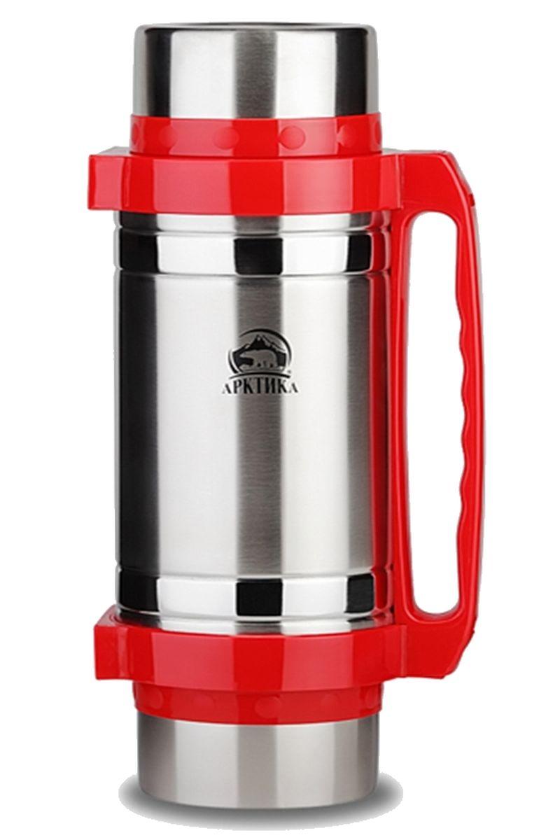 """Термос """"Арктика"""" сохранит вашу еду или напитки горячими в течение долгого времени. Изделие выполнено из высококачественной нержавеющей стали с элементами из пластика. Термос оснащен 2 крышками, которые можно использовать в качестве чаши или миски, так же имеется дополнительная чаша, 2 складные ложки и ремешок на плечо для удобной переноски.Пробка термоса состоит из двух составных частей: узкая внутренняя пробка пригодится для напитков, а более широкую внешнюю часть можно снять и использовать термос для еды. Забудьте об неудобствах - вместительный и компактный термос """"Арктика"""" с радостью послужит вам в качестве миниатюрной полевой кухни, поднимет настроение нарядным внешним видом и вкусной домашней едой.Не рекомендуется мыть в посудомоечной машине.Время сохранения температуры (холодной и горячей): 30 часов.Диаметр широкого горлышка (по верхнему краю): 8,5 см.Диаметр крышки (по верхнему краю): 11,5 см.Высота крышки: 6,5 см.Диаметр пластиковой чаши (по верхнему краю): 9,5 см. Высота пластиковой чаши: 4 см.Высота (с учетом крышки): 32,5 см.Длина ложки: 12 см."""