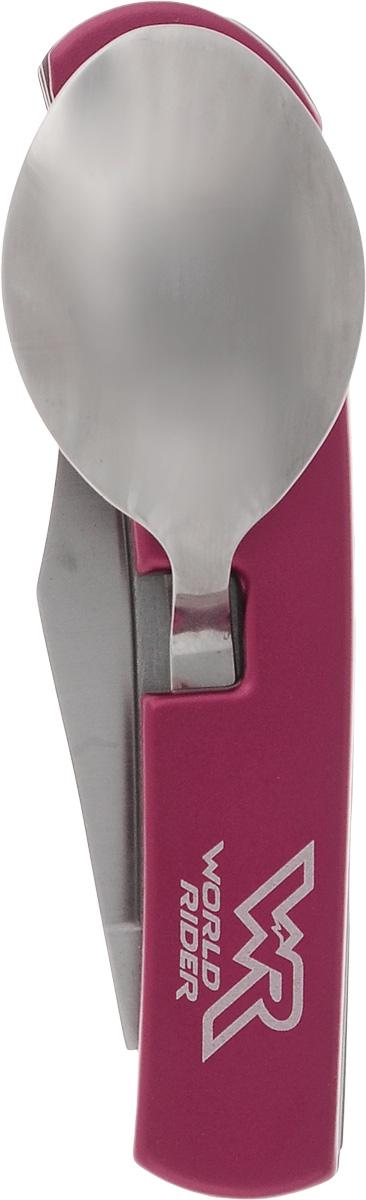 Набор туриста многофункциональный World Rider, цвет: красный, стальнойWR 5004_красныйНабор туриста в одном компактном корпусе содержит нож, ложку и вилку. На вилке расположена открывалка для бутылок. Компактный набор выполнен из высококачественной стали и позволяет существенно сэкономить место для хранения и время на поиски нужного предмета.Длина в сложенном виде: 9,5 см.Длина в разложенном виде: 17,5 см.Длина лезвия ножа: 6,5 см.