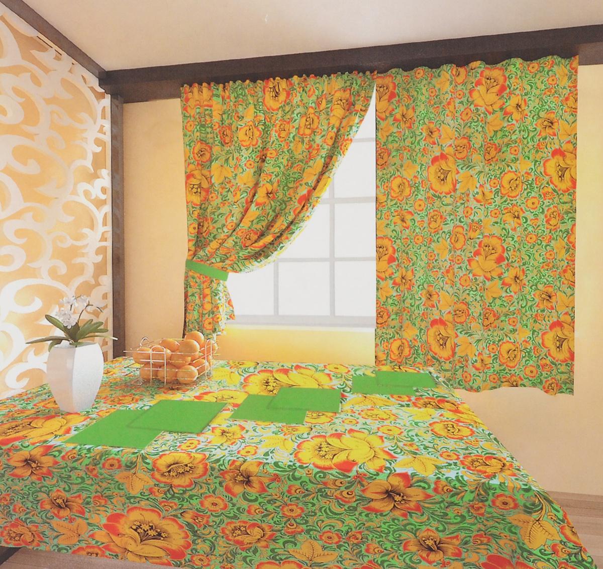 Комплект штор Zlata Korunka Хохлома, на ленте, цвет: зеленый, желтый, черный, высота 150 см. 5561055610Роскошный комплект штор Zlata Korunka Хохлома великолепно украсит любое окно. Комплект состоит из двух портьер, двух подхватов, скатерти и 6 салфеток. Изделия выполнены из 100% хлопка и декорированы изображением крупных цветов. Оригинальный цветочный принт привлечет к себе внимание и позволит шторам органично вписаться в интерьер помещения. Комплект крепится на карниз при помощи шторной ленты, которая поможет красиво и равномерно задрапировать верх. Портьеры можно красиво зафиксировать с помощью двух подхватов. Этот комплект будет долгое время радовать вас и вашу семью.Рекомендуется ручная стирка. В комплект входит: Портьера: 2 шт. Размер (ШхВ): 150 х 150 см. Скатерть: 1 шт. Размер (ШхВ): 140 х 180 см.Салфетки: 6 шт. 40 х 40 см.Подхват (с учетом петель): 2 шт. Размер: 65 х 9 см.