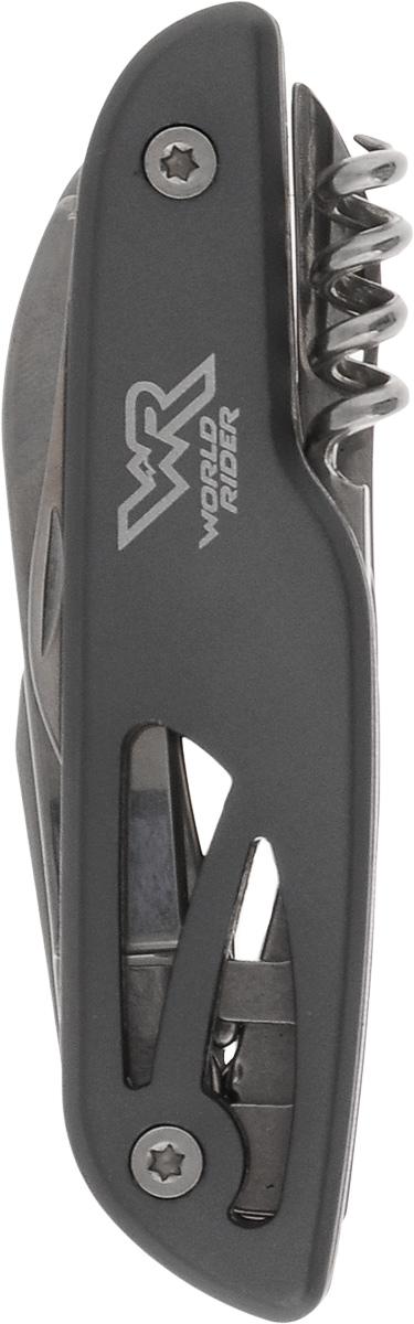 Нож перочинный многофункциональный World Rider, цвет: серый. WR 5007WR 5007_серыйКомпактный перочинный нож World Rider - стильный аксессуар, в одном корпусе содержащий самые необходимые инструменты на даче, пикнике и в быту: большое и малое лезвия, ножницы, открывалку для бутылок, шлицевую отвертку, штопор и шило. Предметы выполнены из высококачественной полированной стали. Рукоятка ножа имеет анодированное покрытие, обладающее грязе- и водоотталкивающими свойствами, что облегчает уход за изделием.Длина в сложенном виде: 10 см.Длина в разложенном виде: 19,5 см.Длина большого лезвия: 5,8 см.Длина малого лезвия: 3,8 см.