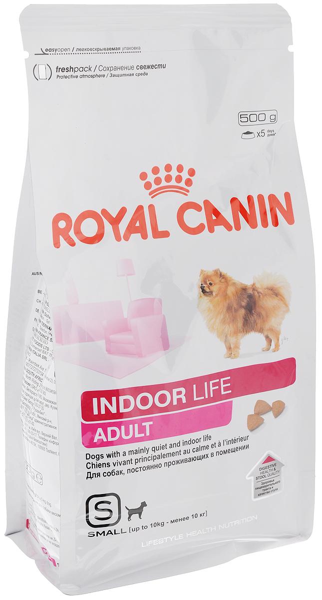 Корм сухой Royal Canin Indoor Life Adult, для собак весом до 10 кг старше 10 месяцев, содержащихся в помещениях, 500 г57334Полнорационный корм Royal Canin Indoor Life Adult предназначен для взрослых собак мелких размеров (весом менее 10 кг) в возрасте от 10 месяцев и старше, живущих главным образом в помещении.Royal Canin Indoor Life Adult поддерживает здоровье пищеварительной системы и уменьшает запах и объем фекалий благодаря высокоусвояемым белкам L.I.P., оптимальному содержанию клетчатки и качественным источникам углеводовПродукт помогает собаке поддерживать идеальный вес благодаря умеренной калорийности, отвечающей сниженным потребностям в энергии собак, содержащихся преимущественно в домашних условиях.Содержит питательные вещества, способствующие поддержанию здоровья кожи и шерсти. Обогащен жирными кислотами Омега 3 (EPA и DHA).Продукт содержит хелаторы кальция, предотвращающие образование зубного камня и способствующие поддержанию гигиены полости рта.Состав: рис, дегидратированные белки животного происхождения (птица), кукуруза, животные жиры, изолят растительных белков, гидролизат белков животного происхождения, свекольный жом, минеральные вещества, соевое масло, растительная клетчатка, дрожжи, рыбий жир, фруктоолигосахариды. Добавки (в 1 кг): Питательные добавки: Витамин A: 24900 ME, ВитаминD3: 1200 ME, Железо: 40 мг, Йод: 4 мг, Марганец: 52 мг,Цинк: 154 мг, Ceлeн: 0,07 мг. Технологические добавки - клиноптилолитосадочного происхождения: 10 г. Консервант: сорбат калия. Антиокислители: пропилгаллат, БГА. Товар сертифицирован.