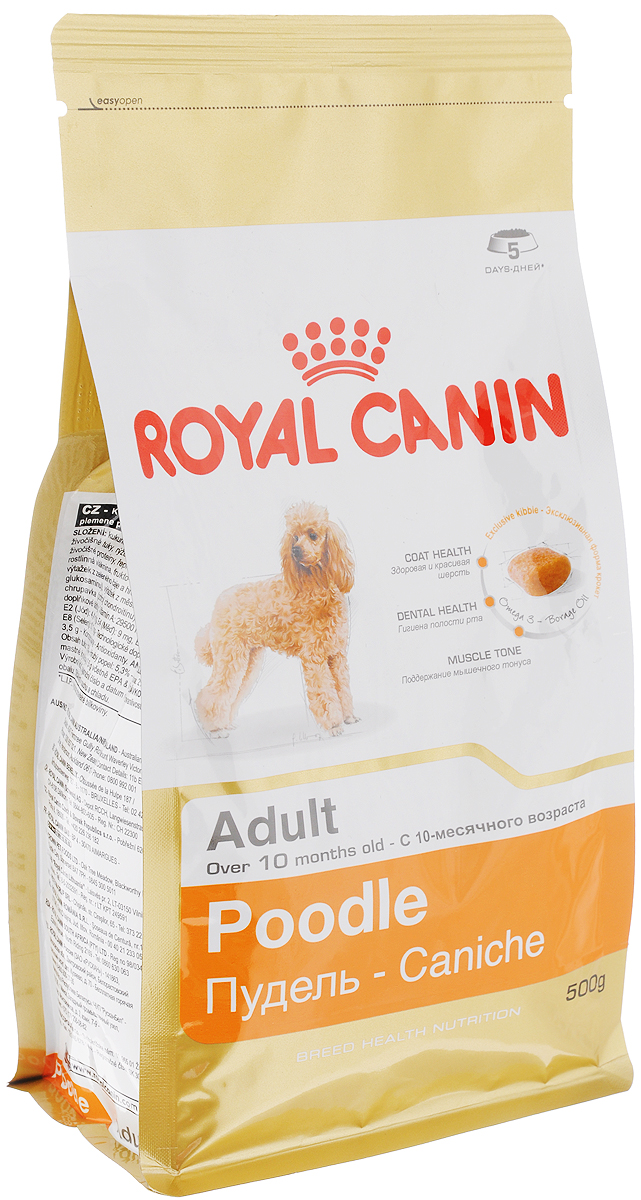 Корм сухой Royal Canin Poodle Adult, для собак породы пудель в возрасте старше 10 месяцев, 500 г00612Сухой корм Royal Canin Poodle Adult специально создан для собак породы пудель в возрасте старше 10 месяцев.Пудель - это одна из самых известных и популярных сегодня пород декоративных пород собак. Мало кто знает, но это животное не только красиво и обаятельно, но еще и занимает второе место в списке самых умных пород собак. Надолго сохранить ясность ума и здоровую шерсть поможет правильное сбалансированное питание. Корм для пуделя насыщен витаминами, аминокислотами и минералами, жизненно необходимыми собакам этой породы. Продукт содержит питательные вещества, которые помогают поддерживать идеальное состояние кожи и шерсти. Формула снижает риск заболевания зубного камня благодаря ингредиентам, связывающим свободный кальций в слюне.Мышечный тонус. Способствует поддержанию мышечного тонуса у данной породы. Состав: кукуруза, дегидратированные белки животного происхождения (птица), изолят растительных белков, животные жиры, рис, кукурузная мука, кукурузная клейковина, гидролизат белков животного происхождения, свекольный жом, соевое масло, минеральные вещества, рыбий жир, дрожжи, растительная клетчатка, фруктоолигосахариды, масло огуречника аптечного (0,1%), экстракты зеленого чая и винограда (источник глюкозамина), экстракт бархатцев прямостоячих (источник лютеина), гидролизат из хряща ( источник хондроитина). Добавки (в 1 кг): Витамин А: 29500 МЕ, Витамин D3: 800 ME, Железо: 44 мг, Йод: 4,4 мг, Марганец: 58 мг, Цинк: 173 мг, Селен: 0,1 мг..Товар сертифицирован.Уважаемые клиенты!Обращаем ваше внимание на возможные изменения в дизайне упаковки. Качественные характеристики товара остаются неизменными. Поставка осуществляется в зависимости от наличия на складе.Расстройства пищеварения у собак: кто виноват и что делать. Статья OZON Гид