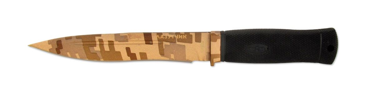 Нож тактический Ножемир, нержавеющая сталь, с ножнами, общая длина 27,5 смH-148C НожемирУникальный нож Ножемир понравится ценителям различных тактических девайсов. Клинок этой модели выполнен из нержавеющей стали и покрыт специальным покрытием в стиле desert camo. Эргономичная рукоятка изготовлена из прочного и морозоустойчивого материала - эластрона. Поясные ножны, входящие в комплект, изготовлены из кордуры и также окрашены в камуфляжный цвет.Общая длина ножа: 27,5 см.