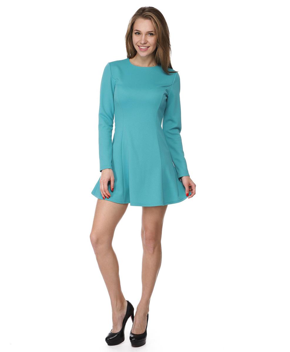 Платье Rocawear, цвет: бирюзовый. RC041410. Размер M (46)RC041410Платье А-силуэта Rocawear выполнено из качественного комбинированного материала.Платье с круглым вырезом горловины и длинными рукавами в среднем шве на спинке дополнено потайной застежкой-молнией.
