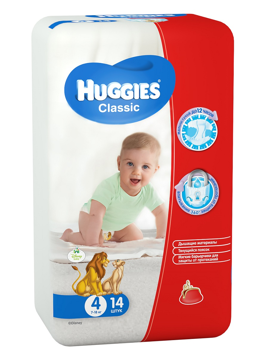 Huggies Подгузники Classic 7-18 кг (размер 4) 14 шт -  Подгузники и пеленки