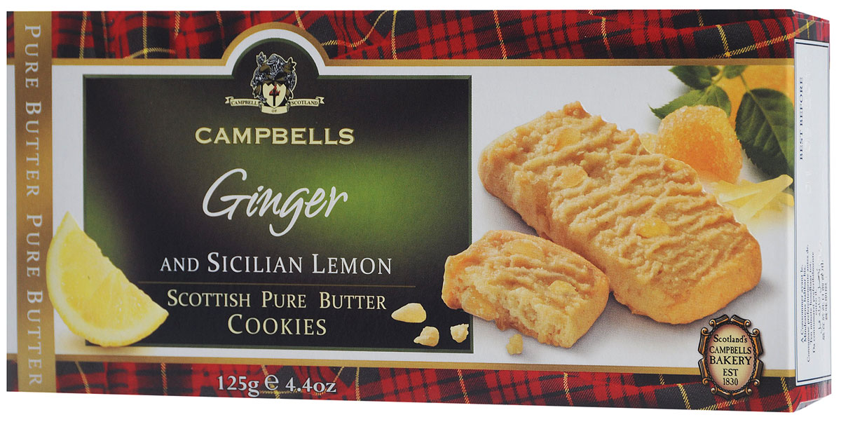 Campbells Pure Butter печенье с лимоном и имбирем, 125 г1520090Campbells Pure Butter - песочное печенье с лимоном и имбирем от известнейшего бренда из Шотландии. Рецепт приготовления этого вкуснейшего печенья состоит исключительно из высококачественных ингредиентов и не меняется вот уже много лет.