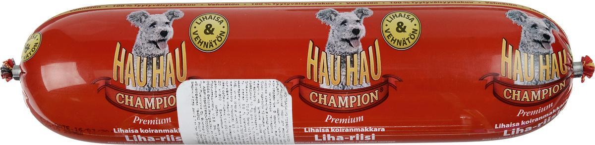 Колбаса для собак Hau-Hau, из говядины с рисом, 800 г81197Колбаса для собак Hau-Hau содержит большое количество мяса и подходит для собак любых размеров. Колбаса изготовлена из свежего мяса, содержание которого не менее 95%. Как связующее вещество используется мелкомолотый рис, продукт также обогащен витаминами и минералами. Колбаса не содержит пшеницу, пищевые красители, консерванты, кровь, рыбу и свинину. До вскрытия упаковки можно хранить при комнатной температуре. Открытый продукт следует хранить в холодильнике в течение 2-3 дней. Состав: мясо и продукты животного происхождения 95% (из которых говядина 10%), рис 4,1%, витамины и минералы. Пищевая ценность: влажность 70%, белки 14,0%, масла и жиры 10%, прокаленный остаток 5%, клетчатка 0,5%.Добавленные витамины и минералы: витамин A 3000 I.U., витамин D3 300 I.U., цинк (оксид цинка) 16 мг, железо (сульфат пенгидрат железа) 6,5 мг, медь (сульфат пенгидрат меди) 0,1 мг.Товар сертифицирован.