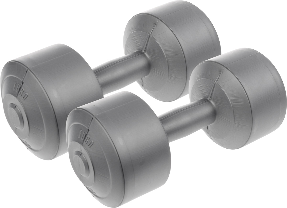 Гантели виниловые Euro-Classic, 5 кг, 2 штГв5Гантели Euro-Classic идеально подходят как для тренировок дома, так и в офисе. Гантели помогают укрепить мышцы рук, грудной клетки, верхней части спины и плеч. Внешнее покрытие изделий выполнено из прочного ПВХ, наполнитель - композитная смесь цемента и песка.