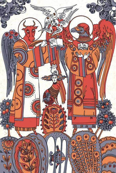 Оригинальная дизайнерская открытка «Телец и орел читают Евангелие» из набора «Мифы славянской цивилизации» выполнена из плотного матового картона. На лицевой стороне расположена репродукция картины художницы Светланы Бойко «Телец и орел (Лука и Иоанн) читают Евангелие» созданная в рамках художественно-искусствоведческого исследования славянской мифологии. Такая открытка станет необычным подарком или оригинальным почтовым посланием, которое, несомненно, удивит получателя своим дизайном и подарит приятные воспоминания.