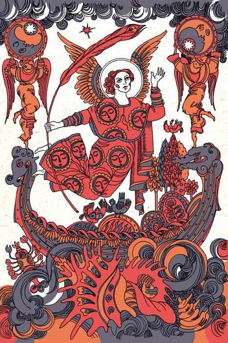 Открытка Ясный Месяц ожидает зарю. Из набора «Мифы славянской цивилизации. Автор Светлана БойкоBS10-009Оригинальная дизайнерская открытка «Ясный Месяц ожидает зарю» из набора «Мифы славянской цивилизации» выполнена из плотного матового картона. На лицевой стороне расположена репродукция картины художницы Светланы Бойко «Ясный Месяц в чудесном саду на морской лодке ожидает зарю» созданная в рамках художественно-искусствоведческого исследования славянской мифологии.Такая открытка станет необычным подарком или оригинальным почтовым посланием, которое, несомненно, удивит получателя своим дизайном и подарит приятные воспоминания.