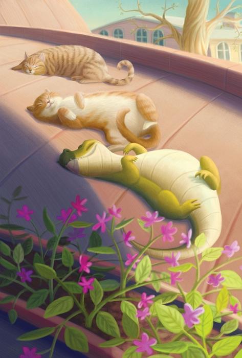 Открытка Крокодил. Автор Варя КолесниковаKV10-002Оригинальная дизайнерская открытка «Крокодил» выполнена из плотного матового картона. На лицевой стороне расположена репродукция работы художницы Вари Колесниковой с греющимися на крыше крокодилом и кошками.Такая открытка станет великолепным дополнением к подарку или оригинальным почтовым посланием, которое, несомненно, удивит получателя своим дизайном и подарит приятные воспоминания.