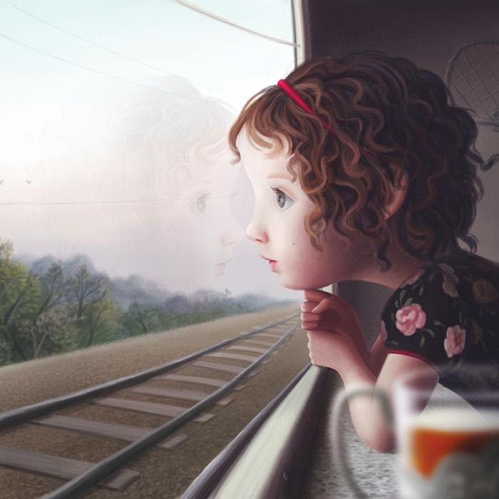 Открытка Поезд. Автор Варя КолесниковаKV10-004Оригинальная дизайнерская открытка «Поезд» выполнена из плотного матового картона. На лицевой стороне расположена репродукция работы художницы Вари Колесниковой с девочкой, смотрящей в окно поезда.Такая открытка станет великолепным дополнением к подарку или оригинальным почтовым посланием, которое, несомненно, удивит получателя своим дизайном и подарит приятные воспоминания.